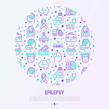Epilepsy concept in circle with thin line icons of symptoms and treatments: convulsion, disorder, dizziness, brain scan. World epilepsy day. Vector illustration for banner, web page, print media. Zdjęcie Seryjne - 101081935