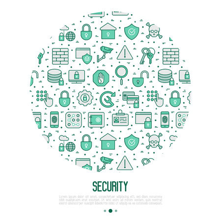 Security and protection concept in circle with thin line icons: data, surveillance camera, finger print, electronic key, password, alarm, safe. Vector illustration for banner, web page, print media. Иллюстрация
