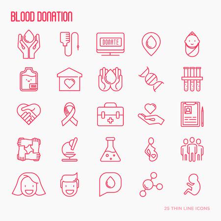 Blood donation thin line icons set. World blood donor day. Vector illustration. Illustration