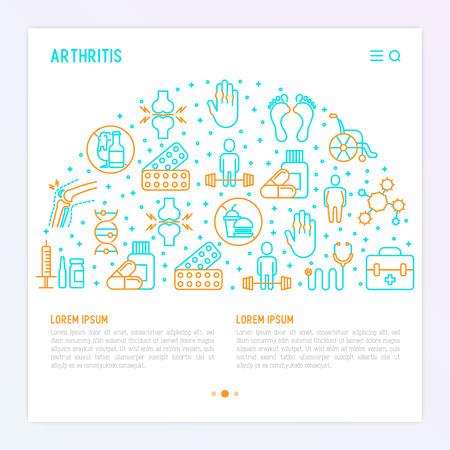 Artritis concept in cirkel met dunne lijn iconen van symptomen en behandelingen: pijn in gewrichten, obesitas, fastfood, alcohol, medicijnen, rolstoel. Vectorillustratie voor banner, webpagina, gedrukte media.