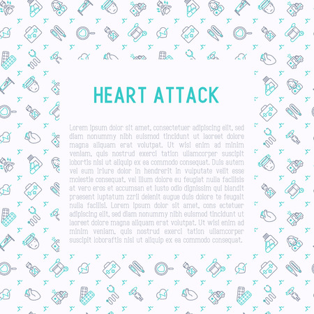 Heart attack concept with thin line icons of symptoms and treatments. Modern vector illustration for medical report or survey, banner, web page, print media with place for text. Иллюстрация