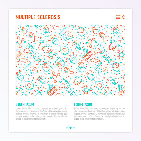Multiple sclerosis concept with thin line icons of symptoms and treatments: disorientation, heredity, neuron myelin sheaths, vitamin D. Vector illustration for banner, web page, print media. Illustration