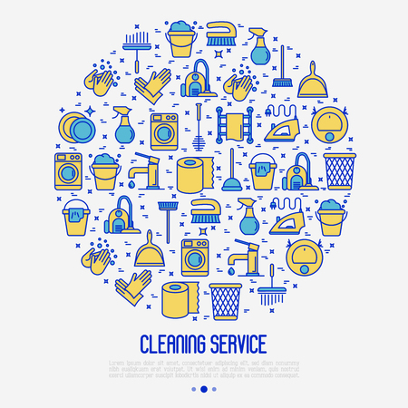 Cleaning service concept in circle with thin line icons: iron, washer, robot vacuum cleaner, brushes and other accessories for household. Vector illustration for banner, web page, print media. Stock Illustratie