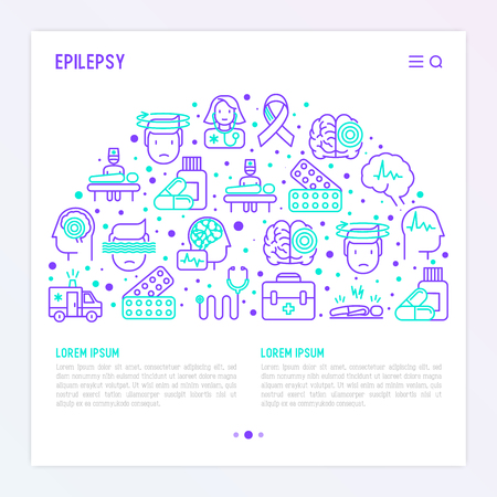 Epilepsy concept in half circle with thin line icons of symptoms and treatments: convulsion, disorder, dizziness, brain scan. World epilepsy day. Vector illustration for banner, web page, print media. Illustration