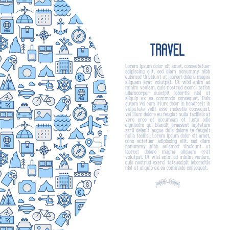 Travel and vacation concept with thin line icons: plane, tickets, hotel, sights and place for text. Vector illustration for banner, web page, print media. Vettoriali