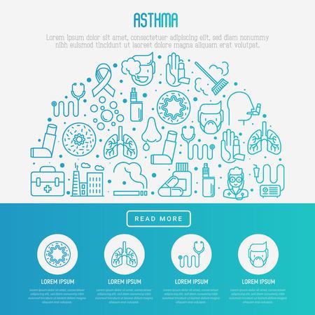 plantilla de concepto de logotipo de asma con conjunto de iconos de línea delgada