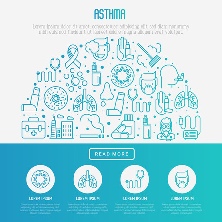 Asthma concept poster template with set of thin line icons