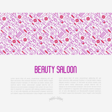 Beauty saloon concept with thin line icons of cosmetics, make up and beauty accessories