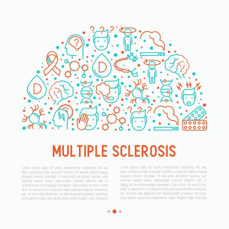 múltiples concepto de esclerosis en círculo medio con iconos de líneas finas de síntomas y tratamientos