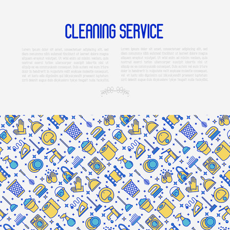 Cleaning service concept with thin line icons: iron, washer, robot vacuum cleaner, brushes and other accessories for household. Vector illustration for banner, web page, print media. Illustration