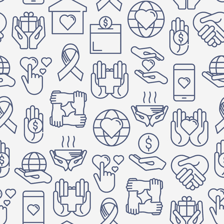 Charity and donation seamless pattern with thin line icons Illustration