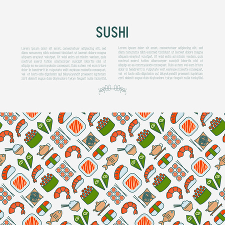 Japanese food concept with thin line icons Illustration