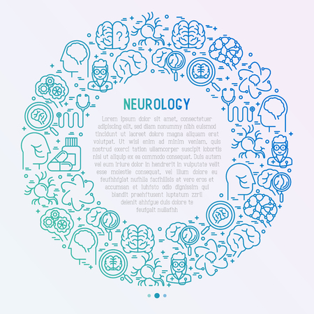 Neurology concept in circle with thin line icons: brain, neuron, neural connections, neurologist, magnifier. Vector illustration for medical survey or report with place for text inside.