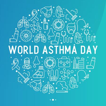 Concepto del día mundial del asma en círculo con iconos de líneas finas: contaminación del aire, tabaquismo, respirador, terapeuta, inhalador, bronquios, síntomas de alergia y alérgenos. Ilustración de vector de banner, página web. Ilustración de vector