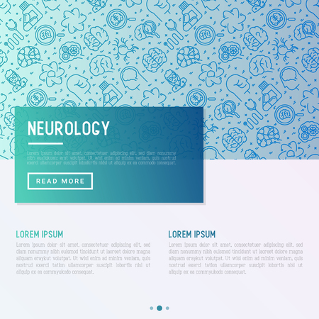 Neurology concept with thin line icons: brain, neuron, neural connections, neurologist, magnifier. Vector illustration for background of medical survey or report with place for text. Vettoriali