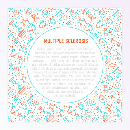 Multiple sclerosis concept with thin line icons of symptoms and treatments