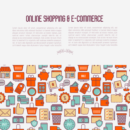 E-commerce, shopping concept with thin line icons: shopping cart, payment method, delivery, sale. Vector illustration for background of banner, web page, print media with place for text. Illustration