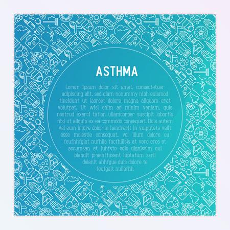 Concepto del día mundial del asma con iconos de líneas finas: contaminación del aire, tabaquismo, respirador, terapeuta, inhalador, bronquios, síntomas de alergia y alérgenos. Ilustración de vector de banner, página web, medios impresos.