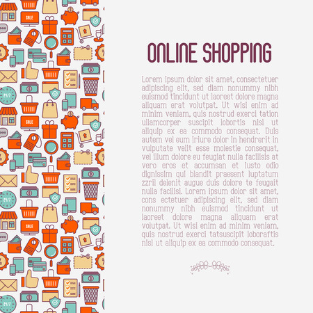 E-commerce, shopping concept with thin line icons: shopping cart, payment method, delivery, sale. Vector illustration for background of banner, web page, print media with place for text. Çizim