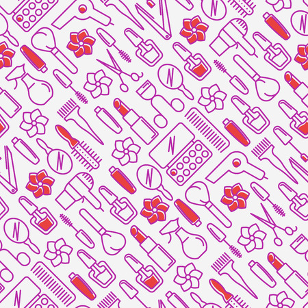Beauty saloon seamless pattern with thin line icons of cosmetics, make up and beauty accessories. Vector illustration for banner, web page, print media.