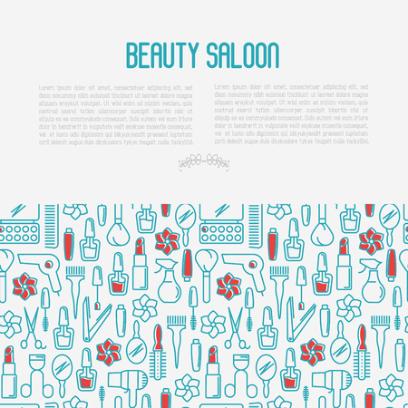 Beauty saloon concept with thin line icons of cosmetics, make up and beauty accessories. Vector illustration for banner, web page, print media with place for text.