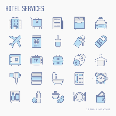 Hotel services thin line icons set of facilities in room. Vector illustration.