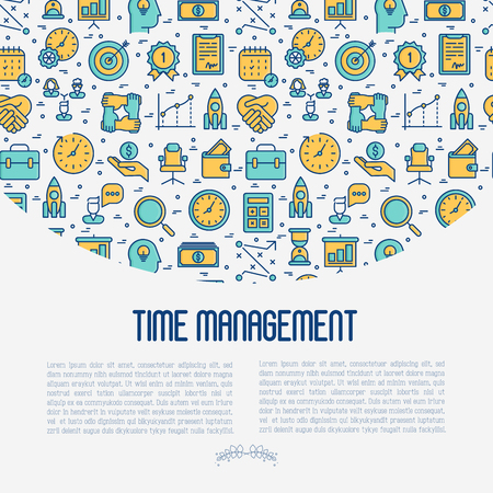 Time management concept with thin line icons. Development of business process. Vector illustration for banner, web page, print media. Illustration