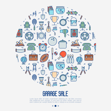 Garage sale or flea market concept in circle.