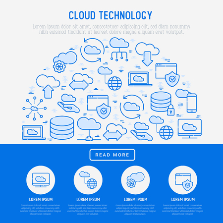 Cloud computing technology concept in half circle with thin line icons related to hosting, server storage, cloud management, data security, mobile and desktop memory. Vector illustration.