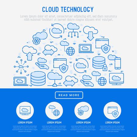 Concetto di tecnologia di cloud computing a semicerchio con icone a linee sottili relative all'hosting, all'archiviazione del server, alla gestione del cloud, alla sicurezza dei dati, alla memoria mobile e desktop. Illustrazione vettoriale. Archivio Fotografico - 101172359