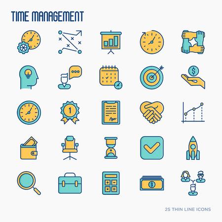 Time management thin line icons set: tactical plan, teamwork, human idea. Development of business process. Vector illustration.