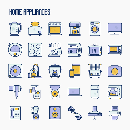 Home appliances thin line icons set: refrigerator, coffee machine, microwave, fryer. Household vector illustration.
