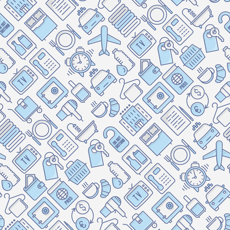 Hotel services seamless pattern with thin line icons of facilities in room. Vector illustration for background of banner, web page, print media.