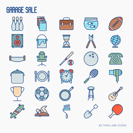 Garage sale or flea market thin line icons set. Vector illustration for banner, web page, print media.