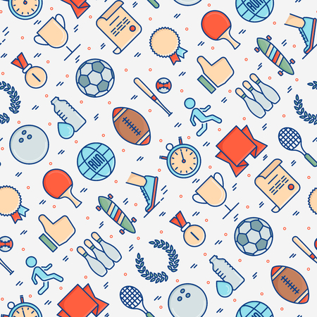Sport equipment seamless pattern with thin line sport and winning games icons. Vector illustration for banner, web page, print media.