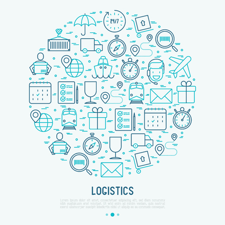 Logistics concept in circle with thin line icons of delivery, box, airplane, train, marine, crane, globe with pointer. Vector illustration for banner, web page, print media.