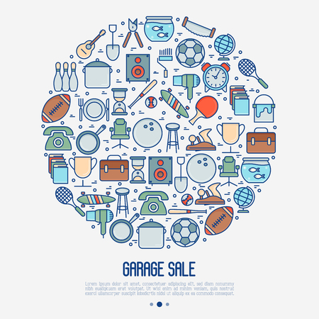 Garage sale or flea market concept in circle. Thin line vector illustration for banner, web page, print media.