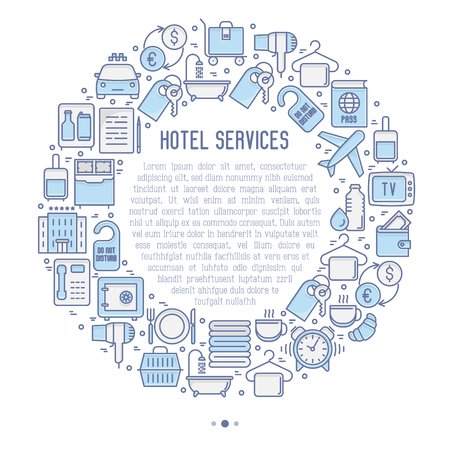 Hotel services concept in circle with thin line icons of facilities in room. Vector illustration for banner, web page, print media. Illustration