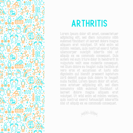Arthritis concept with thin line icons of symptoms and treatments: pain in joints, obesity, fast food, alcohol, medicine, wheelchair. Vector illustration for banner, web page, print media. Illusztráció