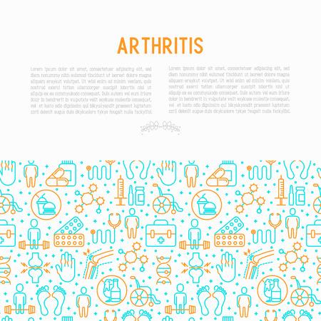 Artritis concept met dunne lijn iconen van symptomen en behandelingen: pijn in gewrichten, obesitas, fastfood, alcohol, medicijnen, rolstoel. Vectorillustratie voor banner, webpagina, gedrukte media.