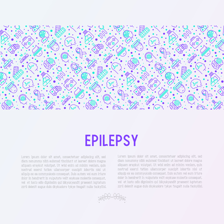 Epilepsy concept with thin line icons of symptoms and treatments: convulsion, disorder, dizziness, brain scan. World epilepsy day. Vector illustration for banner, web page, print media. Иллюстрация