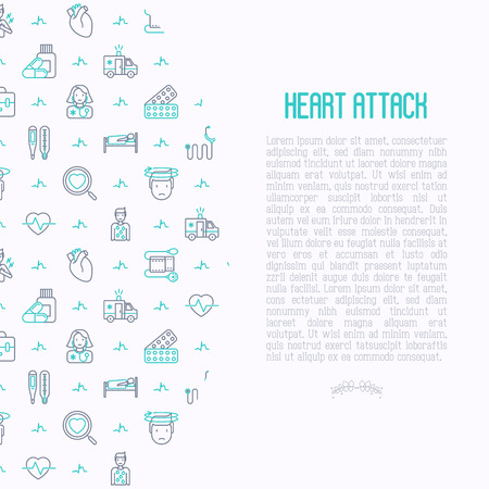 Heart attack concept with thin line icons of symptoms and treatments. Modern vector illustration for medical report or survey, banner, web page, print media. Иллюстрация