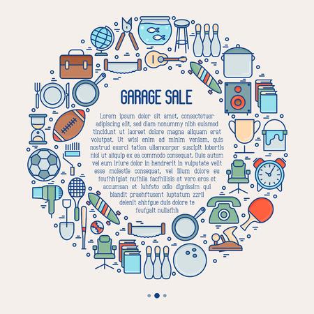 Venta de garaje o concepto de mercado de pulgas en círculo con lugar para el texto. Ilustración de vector de línea delgada para banner, página web, medios impresos. Ilustración de vector