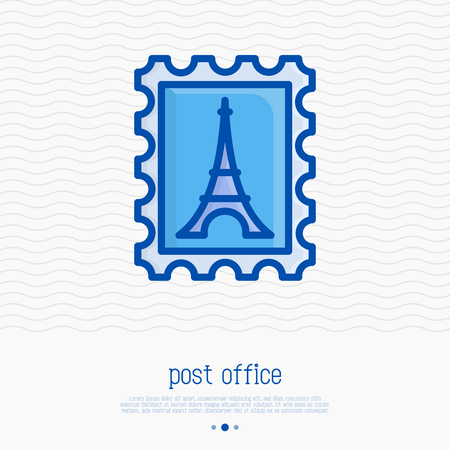 Postage stamp thin line icon. Simple vector illustration of mail delivery.