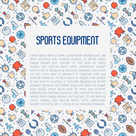 Sport equipment concept with thin line sport and winning games icons. Vector illustration for banner, web page, print media. 向量圖像