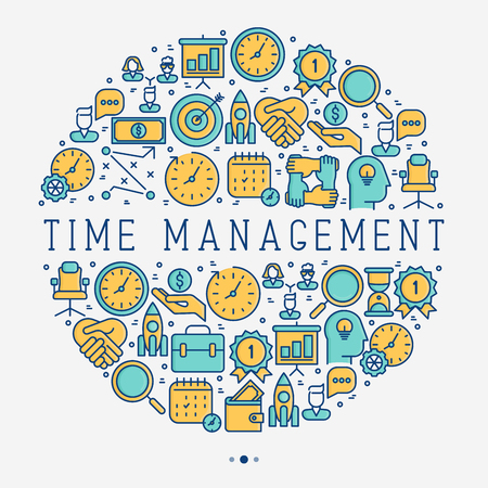 Time management concept in circle with thin line icons. Development of business process. Vector illustration for banner, web page, print media.