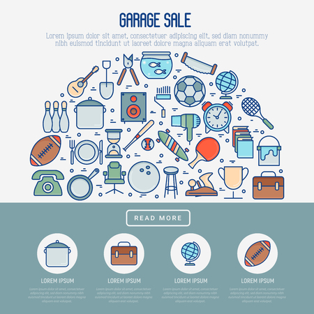Garage sale or flea market concept in half circle with place for text. Thin line vector illustration for banner, web page, print media. 矢量图像