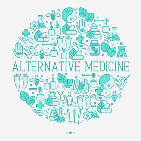 Concept de médecine alternative en cercle avec des icônes de fine ligne. Illustration vectorielle de bannière, médias imprimés ou site Web pour le yoga, l'acupuncture, le bien-être, l'ayurveda, la médecine chinoise, le centre holistique