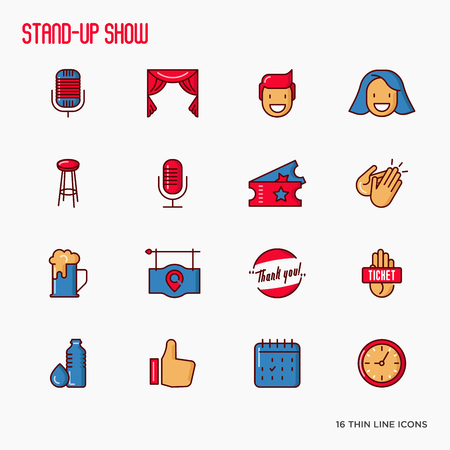 Stand up comedy show thin line icons set. Vector illustration. 向量圖像