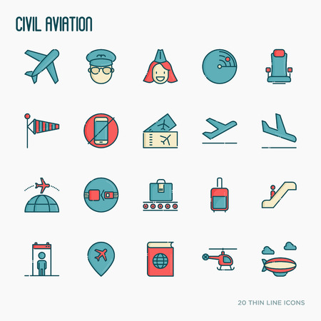 Civil aviation thin line icons set related to airport and tourism. Vector illustration. Illustration